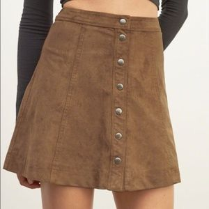 Abercrombie & Fitch Brown Tan Suede Button Skirt